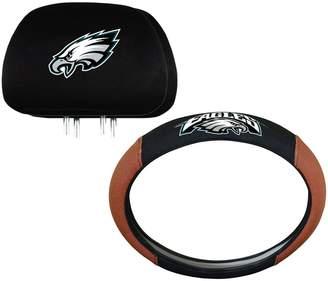 Philadelphia Eagles Steering Wheel & Head Rest Cover Set