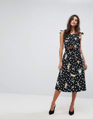 MANGO Dot And Floral Midi Skirt