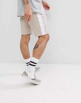 Asos DESIGN Slim Chino Shorts In Mushroom With White Side Stripe