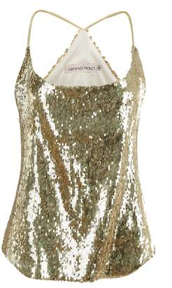 Anna-Kaci Womens Shimmer All Over Sequin Sparkle Spaghetti Strap Vest Tank Top