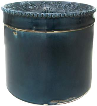 LS Collections Midnight Scalloped Ceramic Canister