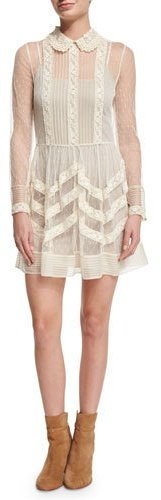 RED ValentinoRED Valentino Long-Sleeve Point d'Esprit Fit-and-Flare Dress