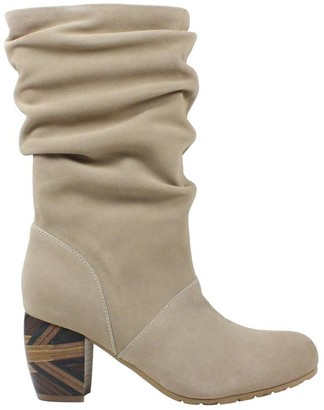 L'amour Des Pieds L'Amour Des Pieds Rouched Leather Mid Calf Boots - Pamby