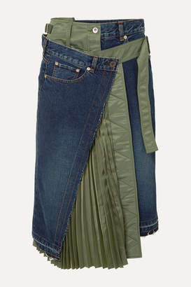 Sacai Paneled Denim And Shell Midi Skirt - Blue
