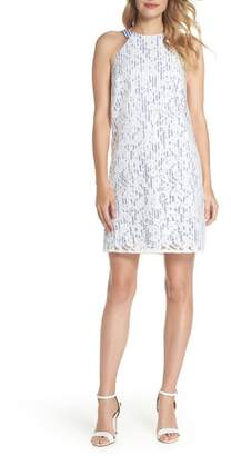 Maggy London Pinstripe Lace Overlay Shift Dress