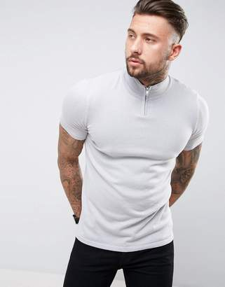 Asos Design Half-Zip Muscle Fit Track Top in Pale Gray