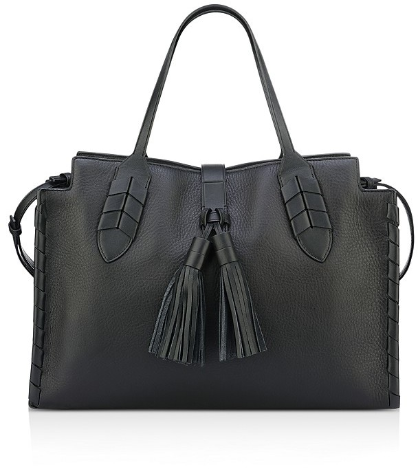 Anne Klein Mila Tassel Leather Satchel