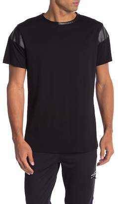 Karl Lagerfeld Faux Leather Detailed Crew Neck Tee