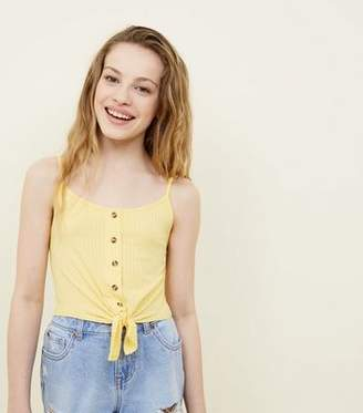 New Look Girls Pale Yellow Ribbed Tie Front Cami