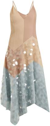 Bottega Veneta Contrast-panel embellished cotton-blend dress