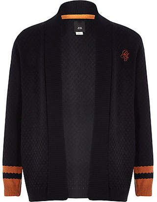 River Island Boys navy knit tipped cardigan
