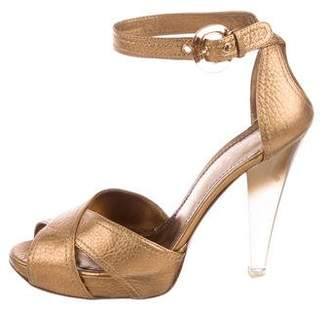 Casadei Metallic Crossover Sandals