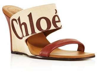 Chloé Women's Verena Leather & Canvas Logo Wedge Sandals