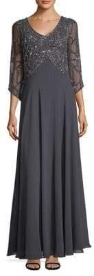 J Kara Embellished Three-Quarter Floor-Length Gown