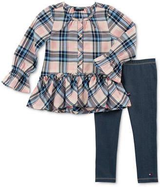 Tommy Hilfiger Little Girls 2-Pc. Plaid Tunic & Denim Leggings Set