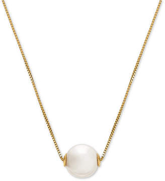 """Honora Cultured Freshwater Pearl (8-1/2mm) Solitaire 18"""" Pendant Necklace in 14k Gold"""