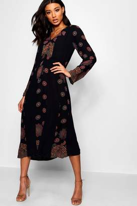 boohoo Leslie Printed Smock Midi Dress