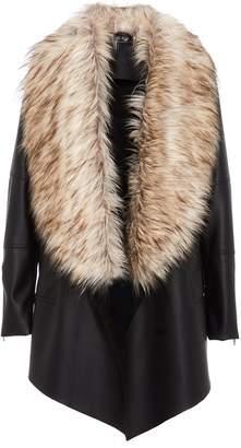Quiz Black Waterfall Faux Fur Trim Jacket