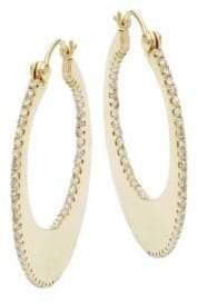 Effy 14K Yellow Gold Diamond Open Hoop Earrings