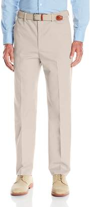 Savane Men's Straight-Fit Flat-Front Comfort-Waist Khaki Dress Pant