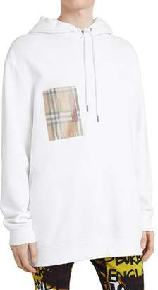 Burberry Men's Check-Patch Jersey Hoodie