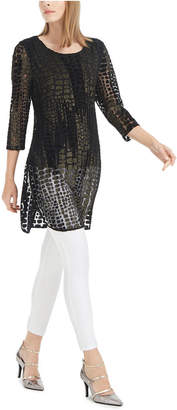 Alfani Burnout Foil Mesh Tunic Top Top