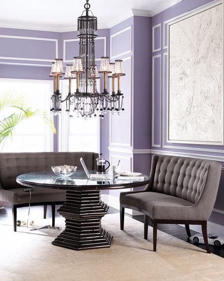 Vanguard Rattan Dining Table & Gray Tweed Seats