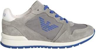 Armani Junior Logo Nylon & Suede Running Sneakers