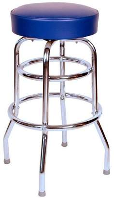 Richardson Seating 0-1952BLU Double Rung Backless Swivel Bar Stool with Chrome Frame and Seat