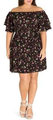 City Chic Plus Fresh Floral Off-the-Shoulder Dress