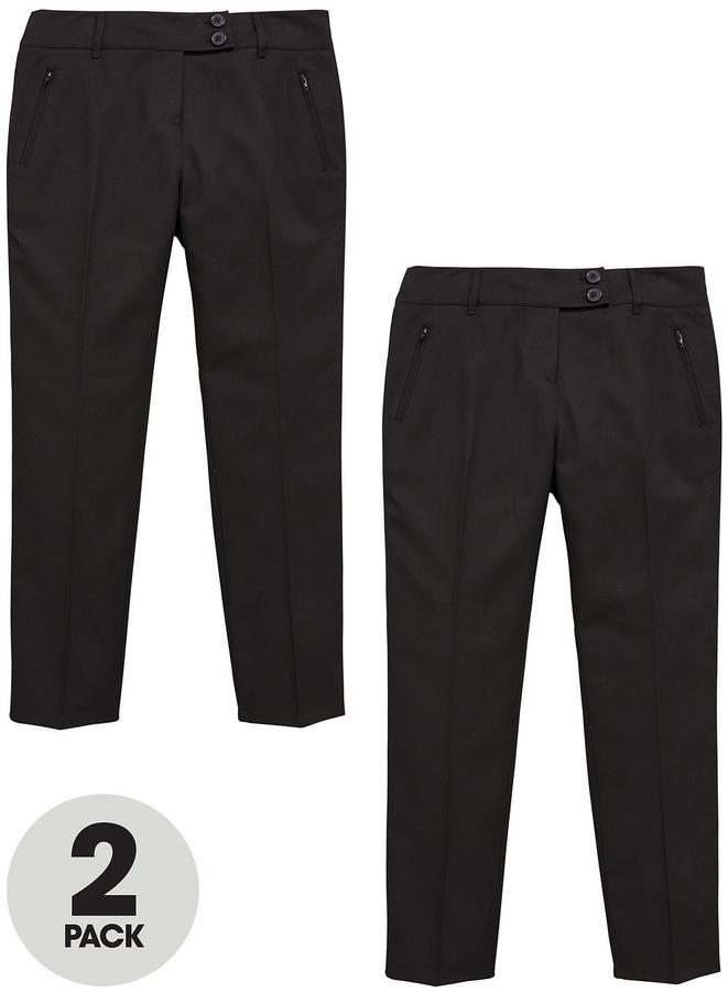 Very Schoolwear Girls Pk2 Skinny Trousers Plus Fit