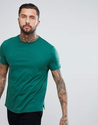 Asos Design Relaxed Fit T-Shirt With Side Splits In Green