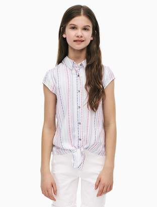 Calvin Klein girls striped front knot top