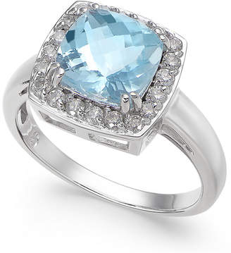 Macy's Aquamarine (2 ct. t.w.) & Diamond (1/3 ct. t.w.) Ring in 14k White Gold