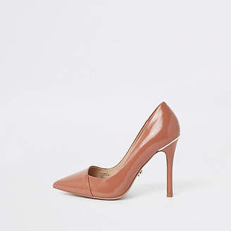 River Island Tan wide fit patent pointed toe pumps