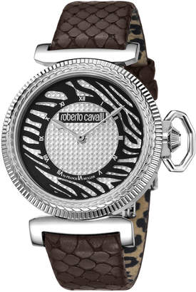 Roberto Cavalli By Franck Muller 38mm Zebra Leather Watch, Brown/Silver