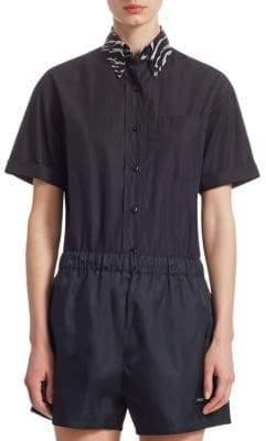 Prada Contrast Collar Poplin Shirt