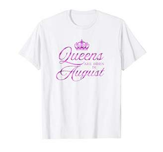 Queen Are Born in August Pink Leo Birthday Funny T-shirt
