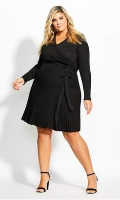 City Chic Citychic Knit Pleat Dress - black