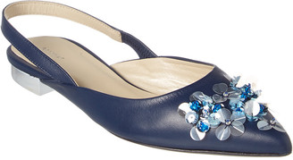 DELPOZO Embellished Leather Flat
