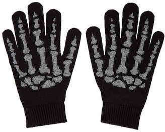 Saint Laurent Black Cashmere Skeleton Gloves