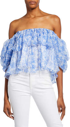 75aea53c26e Caroline Constas Blue Off Shoulder Women's Tops - ShopStyle
