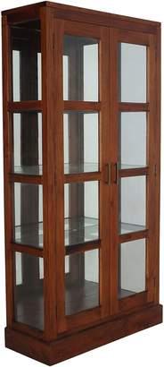 Kayu Estate Bookcases Elysee Mirrored Display Cabinet, Pecan