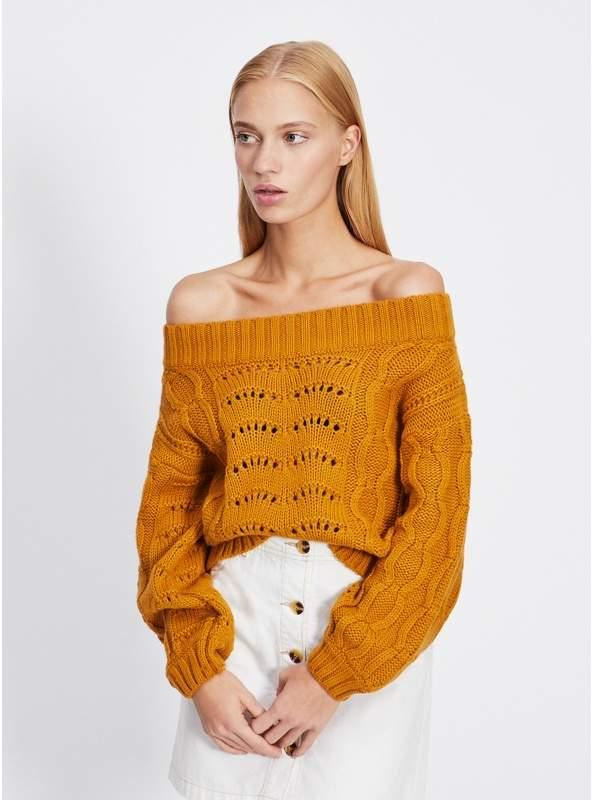 Ochre Pointelle Bardot Knitted Jumper