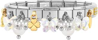 Nomination Classic Bright Charms Gold and Stainless Steel Bracelet w/Crystals and Pearls