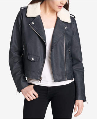 Levi's Cropped Faux-Fur-Collar Moto Jacket