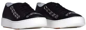Santoni Club Sneakers In Black Leather