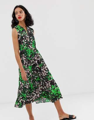 And other stories & sleeveless midi smock dress in floral print