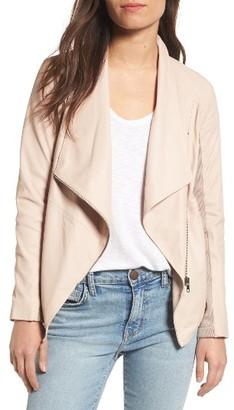 Women's Bb Dakota 'Kenrick' Drape Neck Leather Jacket $358 thestylecure.com