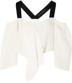 Roland Mouret Knit-trimmed Silk Crepe De Chine Cold-shoulder Top